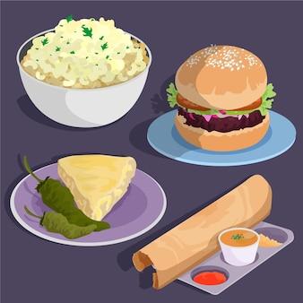 Ręcznie rysowana płaska kolekcja wegetariańskich potraw