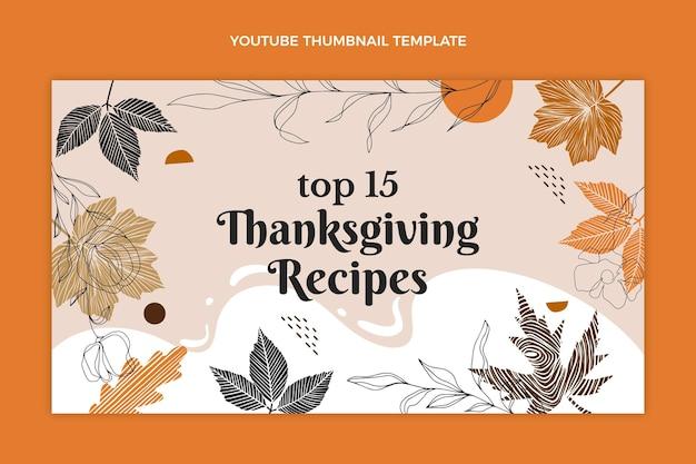 Ręcznie rysowana płaska miniatura youtube na święto dziękczynienia