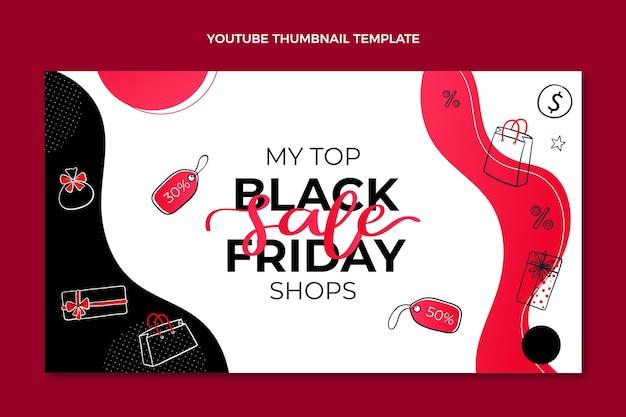 Ręcznie rysowana płaska miniatura youtube w czarny piątek