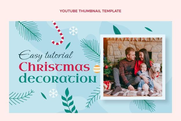 Ręcznie rysowana płaska świąteczna miniatura youtube