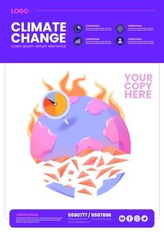 Ręcznie rysowana płaska ulotka dotycząca zmian klimatu
