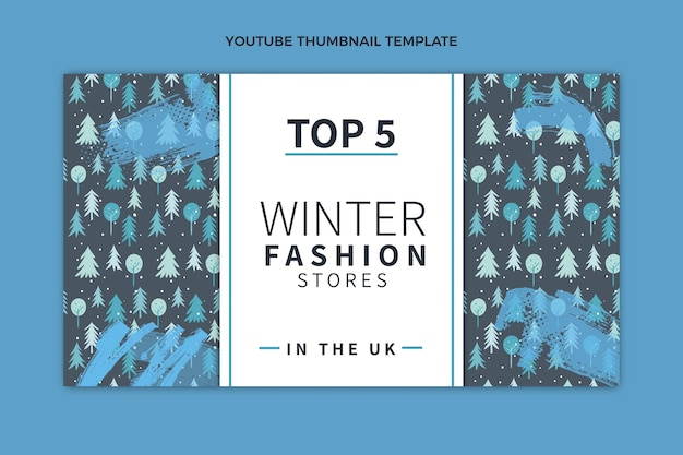 Ręcznie rysowana płaska zimowa miniatura youtube