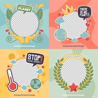 Ręcznie rysowana ramka na facebooku na temat zmian klimatu dla awatara