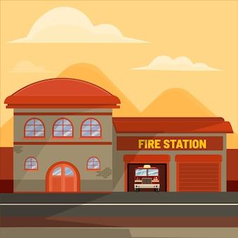 Ręcznie rysowana remiza strażacka ilustrowana
