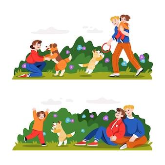Ręcznie rysowana rodzina na ilustracjach w parku