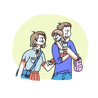 Ręcznie rysowana rodzina z małą ilustracją dla dzieci