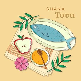 Ręcznie rysowana shana tova