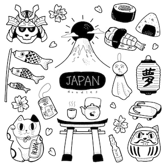 Ręcznie rysowana śliczna i uroczna ilustracja w japońskim stylu doodle