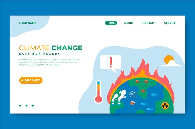 Ręcznie rysowana strona docelowa dotycząca zmian klimatu