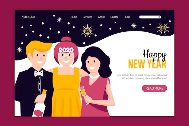Ręcznie rysowana strona docelowa nowego roku