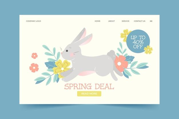 Ręcznie rysowana strona docelowa oferty wiosny
