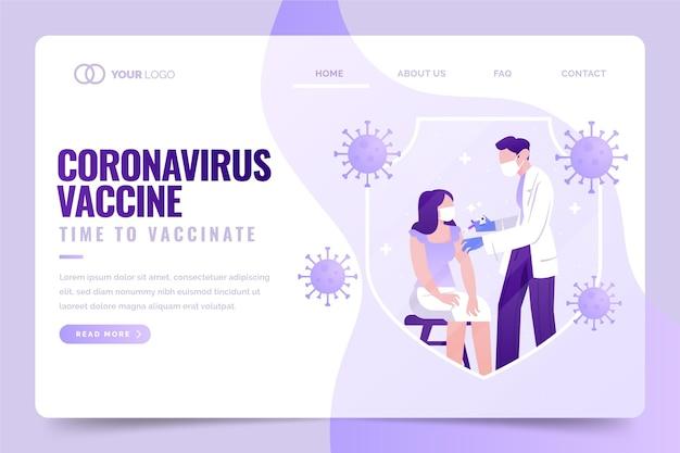 Ręcznie rysowana strona docelowa szczepionki przeciwko koronawirusowi