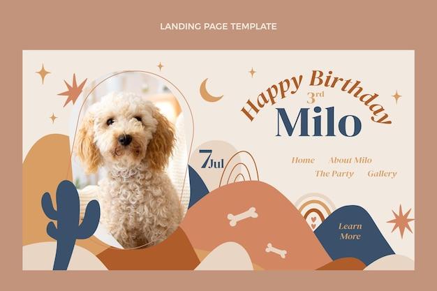 Ręcznie rysowana strona docelowa urodzin boho
