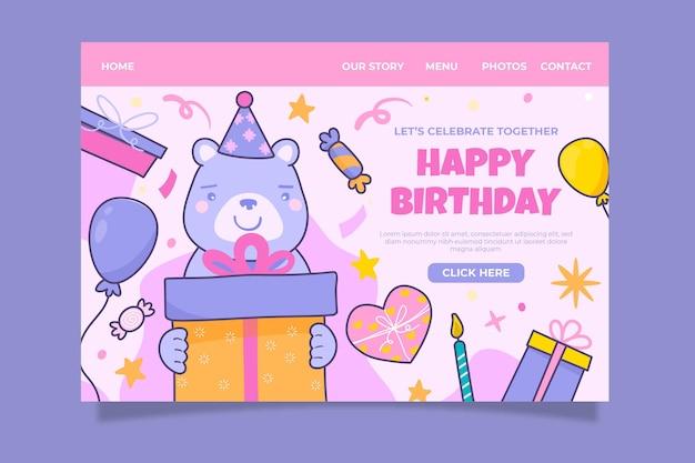 Ręcznie rysowana strona docelowa urodzin
