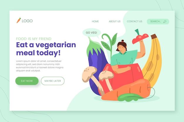 Ręcznie rysowana strona docelowa wegetariańskiego jedzenia