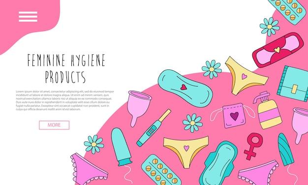 Ręcznie rysowana strona docelowa z kobiecymi produktami higienicznymi z kolorowymi elementami