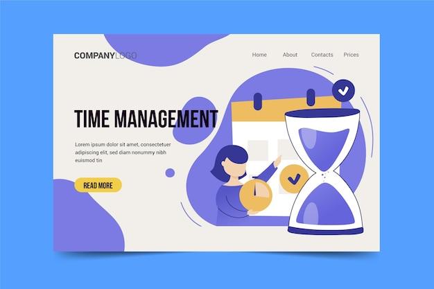 Ręcznie rysowana strona docelowa zarządzania czasem