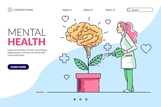 Ręcznie rysowana strona docelowa zdrowia psychicznego