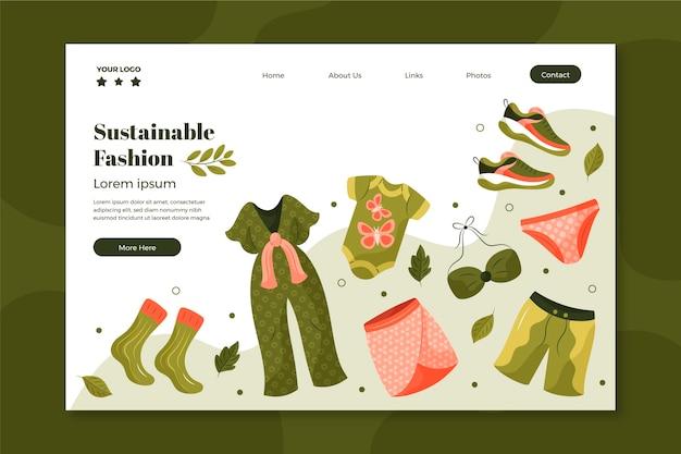 Ręcznie rysowana strona docelowa zrównoważonej mody