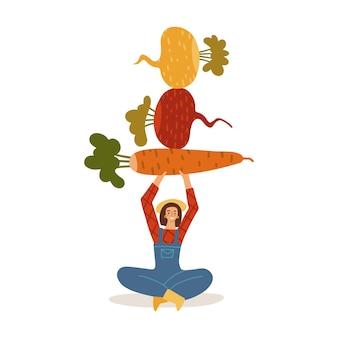 Ręcznie rysowana stylizowana postać kobiecego fermera trzyma nad głową i równoważy warzywa korzeniowe marchew...