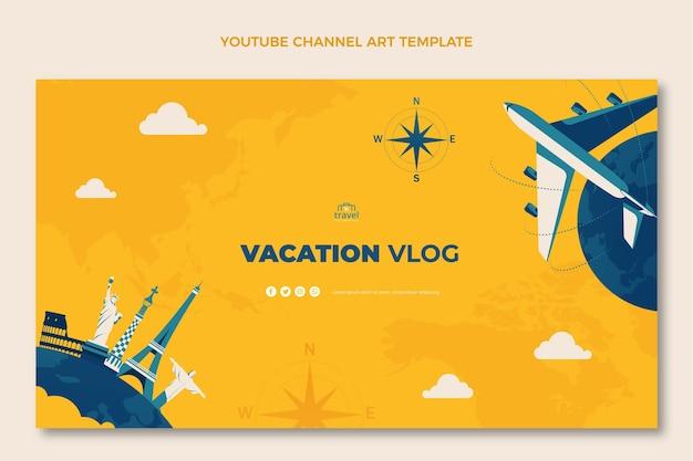 Ręcznie rysowana sztuka kanału podróżniczego na youtube