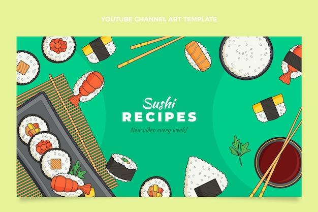 Ręcznie rysowana sztuka kanału youtube żywności