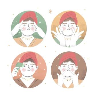 Ręcznie rysowana technika masażu twarzy