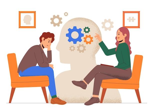 Ręcznie rysowana wizyta w koncepcji psychologa