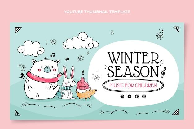 Ręcznie rysowana zimowa miniatura youtube