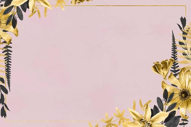 Ręcznie rysowana złota ramka kwiatowa na różowej tapecie
