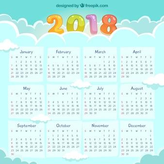Ręcznie rysowane 2018 kalendarza
