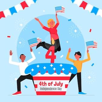 Ręcznie rysowane 4 lipca - ilustracja dzień niepodległości