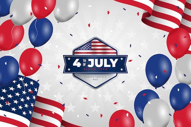 Ręcznie rysowane 4 lipca - tło balony dzień niepodległości