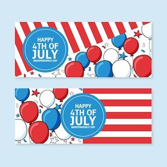 Ręcznie rysowane 4 lipca - zestaw banerów dzień niepodległości