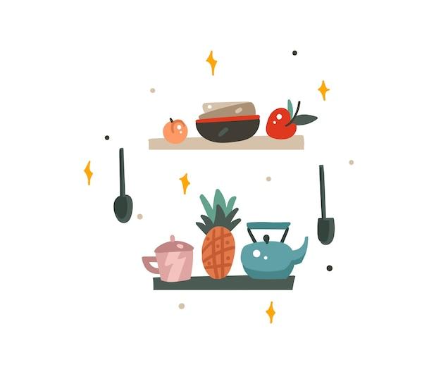 Ręcznie rysowane abstrakcyjna kolekcja nowoczesnych obrazów graficznych z kreskówek zestaw ilustracji sztuki z elementami wnętrza kuchni na białym tle.
