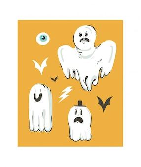 Ręcznie rysowane abstrakcyjna kreskówka kolekcja happy halloween ilustracje zestaw z elementami dekoracji różnych zabawnych duchów na pomarańczowym tle.