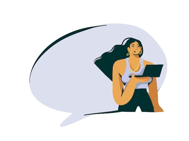 Ręcznie rysowane abstrakcyjna kreskówka stock nowoczesna dziewczyna influencer z ilustracją laptopa i dymek na białym tle