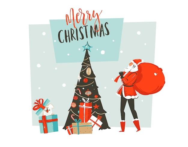 Ręcznie rysowane abstrakcyjna zabawa wesołych świąt bożego narodzenia czas ilustracja kreskówka kartkę z życzeniami z tatą świętego mikołaja, psem, niespodzianką pudełka na prezenty, choinką i typografią na białym tle na tle rzemiosła.