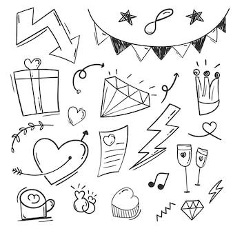 Ręcznie rysowane abstrakcyjne bazgroły doodle elementy
