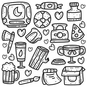 Ręcznie rysowane abstrakcyjne doodle kawaii projektuje szablon