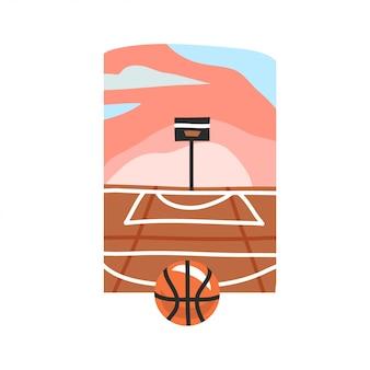 Ręcznie rysowane abstrakcyjne grafiki ilustracja z zachodem słońca na plaży scena ulicznego boiska do koszykówki i piłki na białym tle.