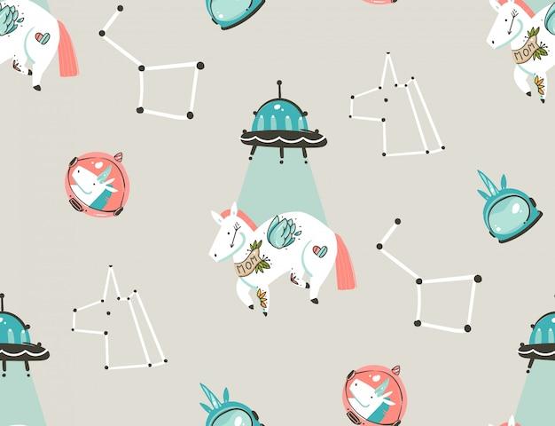 Ręcznie rysowane abstrakcyjne grafiki kreatywne ilustracje kreskówka artystyczny wzór z jednorożcami astronautów z old school tatuaż, gwiazdy, planety i statek kosmiczny na białym tle na pastelowym tle