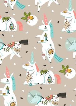 Ręcznie rysowane abstrakcyjne grafiki kreatywne ilustracje kreskówka artystyczny wzór z jednorożcami astronautów z tatuażem starej szkoły, kwiaty, planety i statek kosmiczny na białym tle na pastelowym tle
