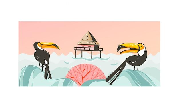 Ręcznie rysowane abstrakcyjne kreskówki czas letni grafiki ilustracje ze sceną zachodu słońca na plaży z kabiną w morzu i tropikalnymi tukanami na białym tle