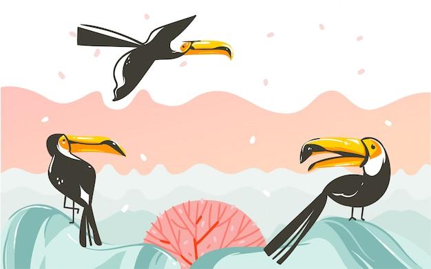 Ręcznie rysowane abstrakcyjne kreskówki czas letni grafiki ilustracje ze sceną zachodu słońca na plaży z tropikalnymi ptakami tukan na białym tle
