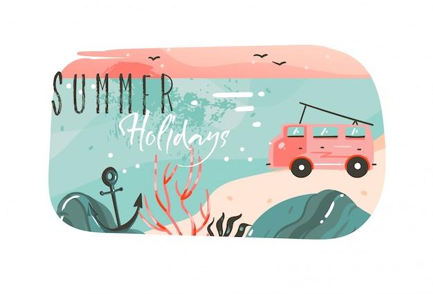 Ręcznie rysowane abstrakcyjne kreskówki czas letni ilustracje graficzne szablon transparent tło z krajobrazem plaży oceanu, różowy widok zachodu słońca, samochód kempingowy van i cytat typografii wakacji letnich