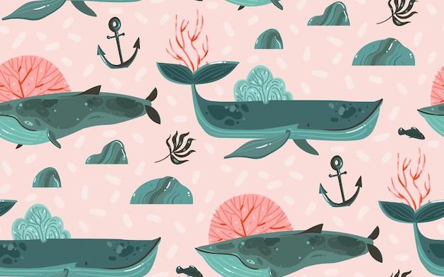 Ręcznie rysowane abstrakcyjne kreskówki graficzne ilustracje dno oceanu podwodne