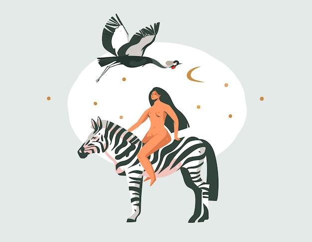 Ręcznie rysowane abstrakcyjne kreskówki nowoczesna grafika african safari nature koncepcja kolażu ilustracje druk artystyczny z zebry zwierząt i nagich dzikich kobiet postać na białym tle