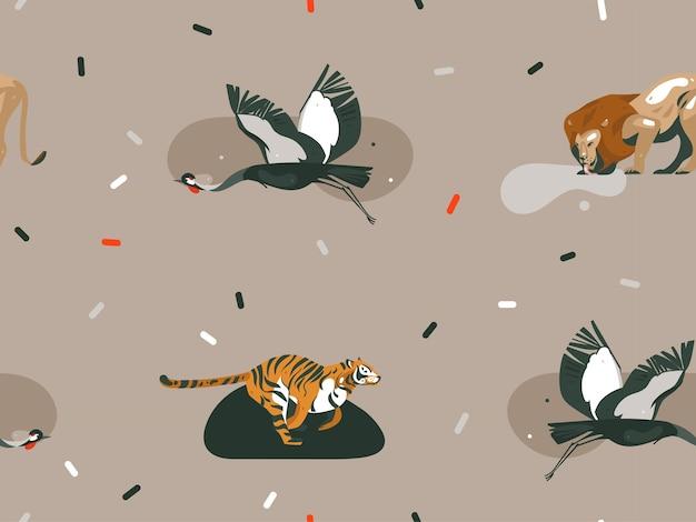 Ręcznie rysowane abstrakcyjne kreskówki nowoczesne graficzne ilustracje afrykańskiej przyrody safari