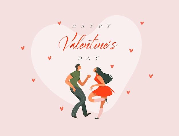 Ręcznie rysowane abstrakcyjne kreskówki nowoczesne grafiki koncepcja happy valentines ilustracje